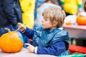 Fall activities for kids painting pumpkins